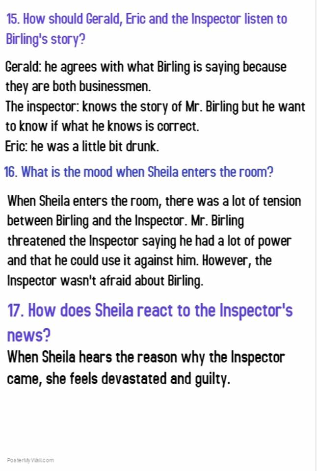 an inspector calls birling essay Mrs birling in an inspector calls essay - i've done nothing wrong - and you know it mrs birling exclaims, refusing to take responsibility for her actions, which is.